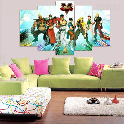 Street Fighter V - 5 Piece Canvas Painting-Canvas-TEEPEAT