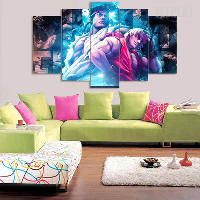 Ryu & Ken - 5 Piece Canvas Painting-Canvas-TEEPEAT