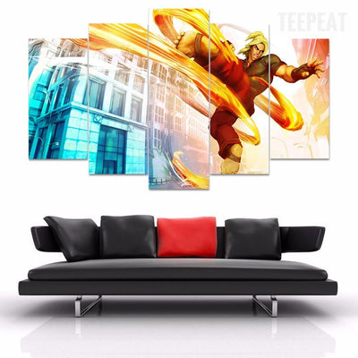StreetFighter - 5 Piece Canvas Painting-Canvas-TEEPEAT