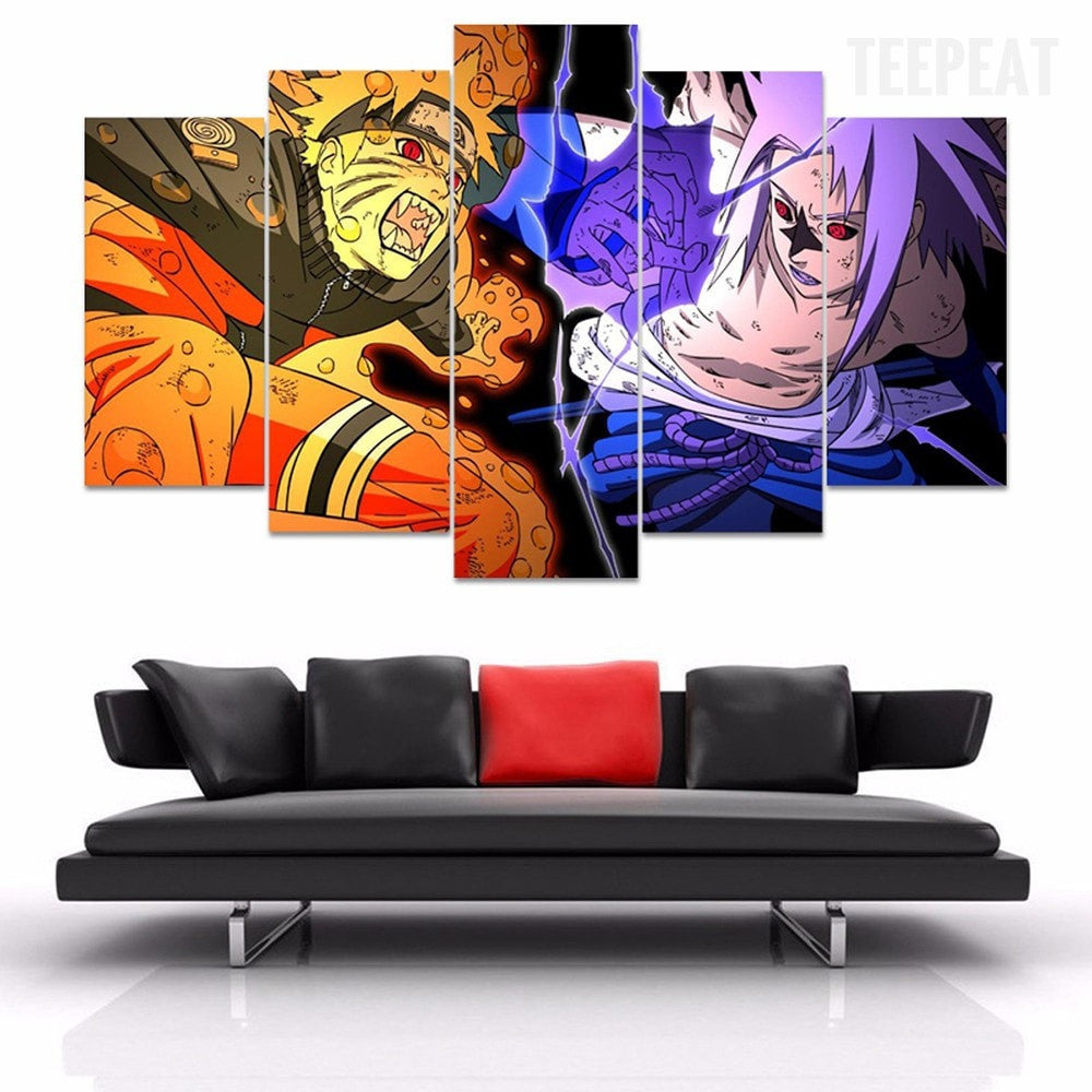 Naruto Vs Sasuke 5 Piece Canvas Painting Empire Prints
