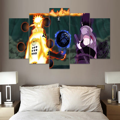 "Naruto: ""The Final Showdown"" - 5 Piece Canvas Painting-Canvas-TEEPEAT"