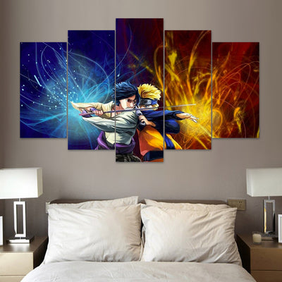 Sasuke & Naruto - 5 Piece Canvas Painting-Canvas-TEEPEAT