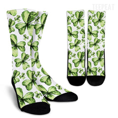 St Patrick's Watercolor Clover Socks