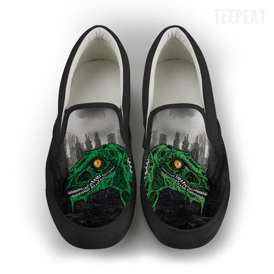Zombie Raptor Women Slip-On Canvas Shoe-TEEPEAT