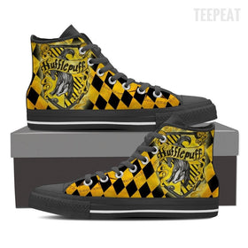 Hufflepuff Women's High Top Canvas Shoe-Shoe-TEEPEAT