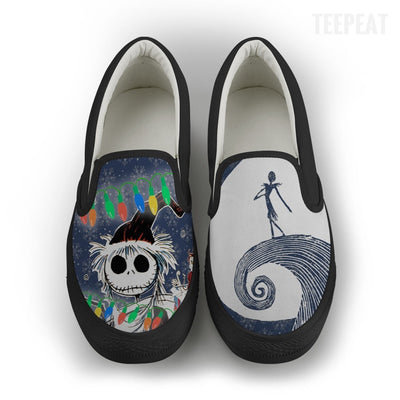 Jack Skellington Snows Up Women Slip-On Canvas Shoe-Shoes-TEEPEAT