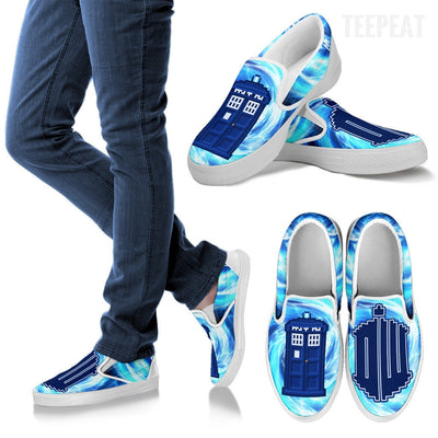 Pixel Tardis Slip-On Canvas Shoes