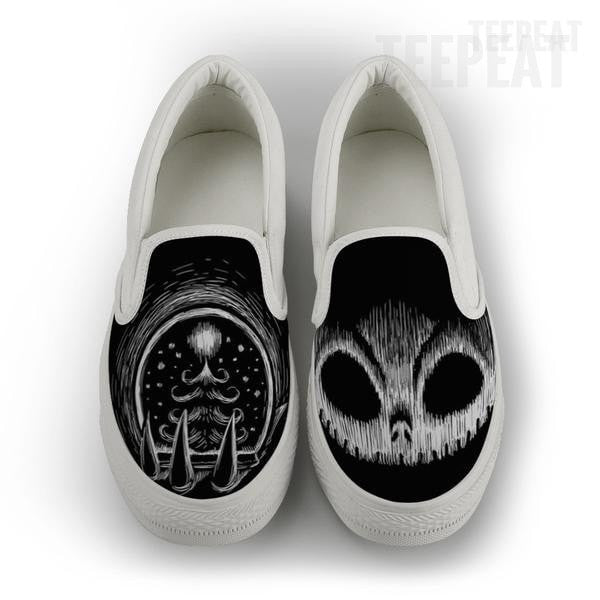 Jack Skellington Chalky Dark Men Slip-On Canvas Shoe-Shoes-TEEPEAT