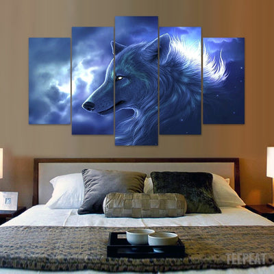 Wolf In The Clouds - 5 Piece Canvas Painting-Canvas-TEEPEAT