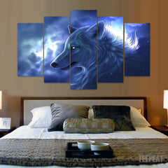 Wolf In The Clouds - 5 Piece Canvas Painting