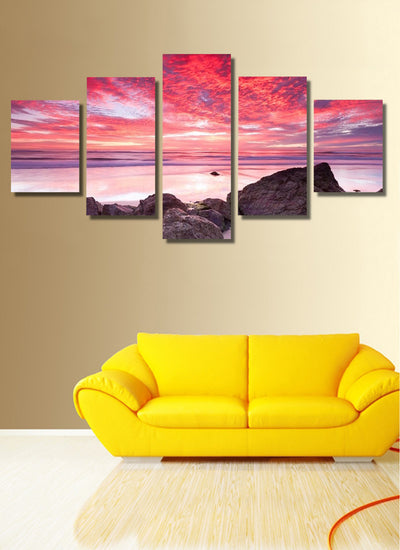 Sunrise By The Sea Painting - 5 Piece Canvas