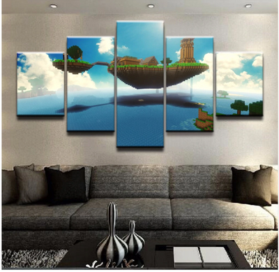 MINECRAFT CITY OF SKY - 5 Piece Canvas Painting