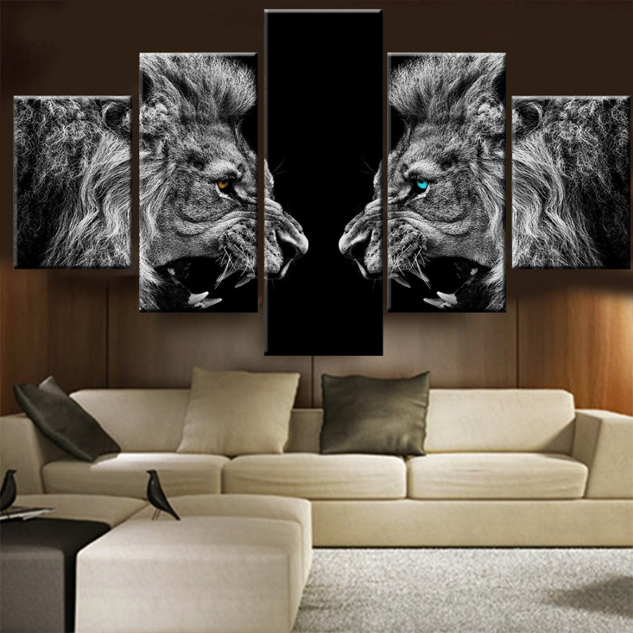 A Roaring Lions Black and White Painting - 5 Piece Canvas