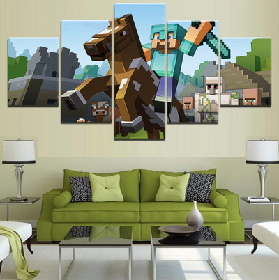MINECRAFT RIDING A HORSE - 5 Piece Canvas Painting