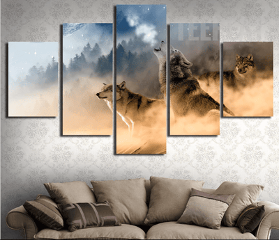 Three Wolves In The Mountains Roar - 5 Piece Canvas
