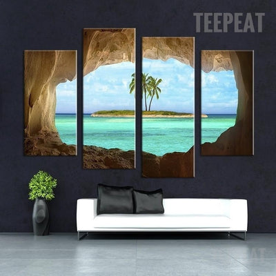 Island Painting - 4 Piece Canvas
