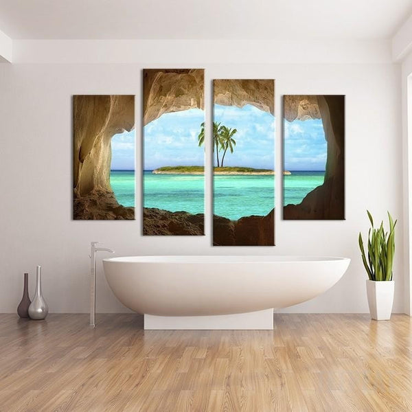 Island painting 4 piece canvas empire prints for Best paintings for living room