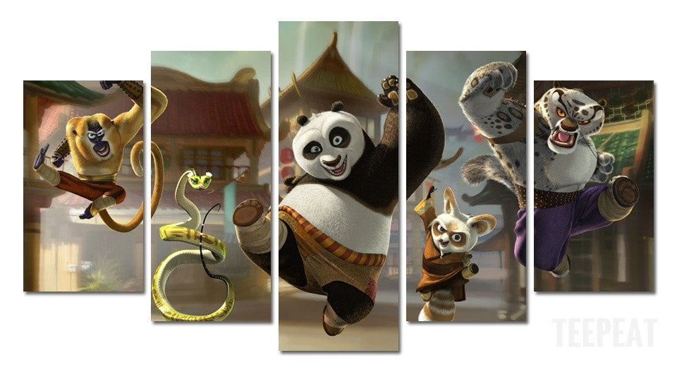 Kung Fu Panda Characters Painting - 5 Piece Canvas LIMITED EDITION-Canvas-TEEPEAT