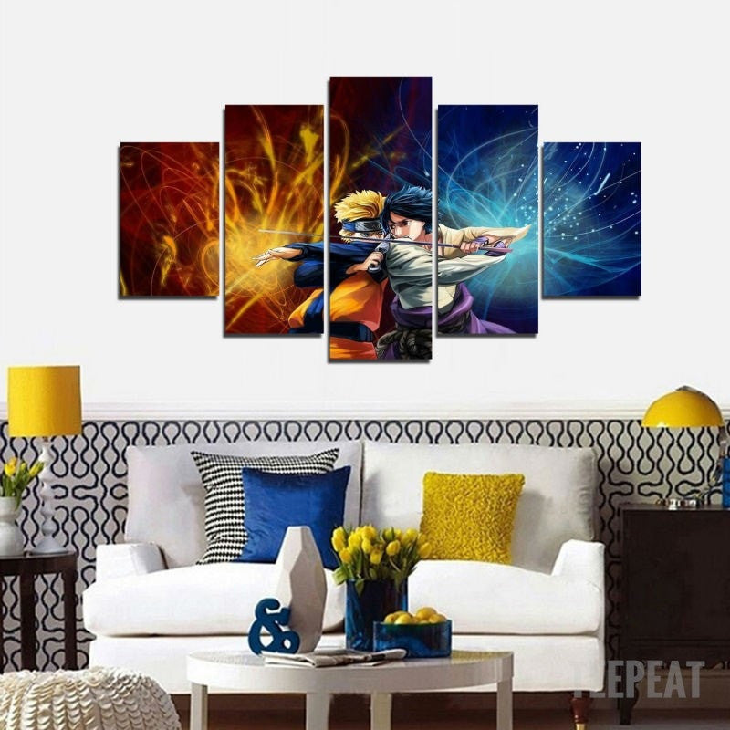 Uzumaki VS Uchiha - 5 Piece Canvas Painting-Canvas-TEEPEAT