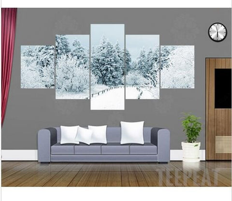 Winter Painting - 5 Piece Canvas-Canvas-TEEPEAT