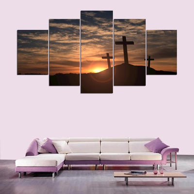 Three Crosses At Sunset Painting - 5 Piece Canvas