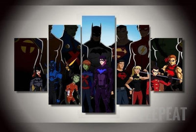 Teen Titans Painting - 5 Piece Canvas-Canvas-TEEPEAT