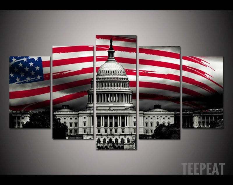 White House Painting - 5 Piece Canvas-Canvas-TEEPEAT