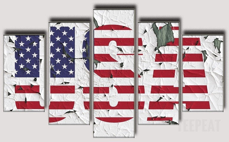 USA - 5 Piece Canvas Painting-Canvas-TEEPEAT