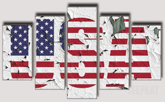 USA - 5 Piece Canvas Painting
