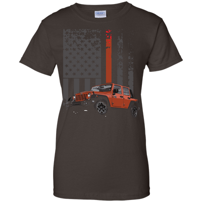 USA Flag Jeep Ladies Tee-Apparel-TEEPEAT