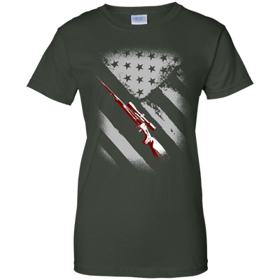 USA Flag Hunter Ladies Tee-Apparel-TEEPEAT