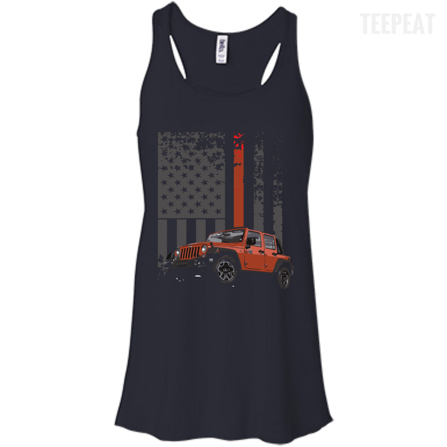 USA Flag Jeep Ladies Tee