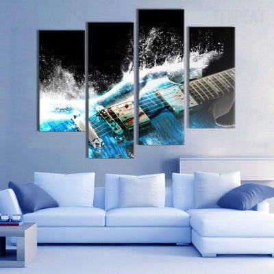 Electric Guitar Painting - 4 Piece Canvas