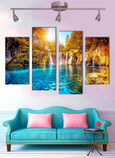 Enchanted Green Forest Lake - 4 piece canvas