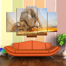 Fallen AT AT - 5 Piece Canvas Painting-Canvas-TEEPEAT