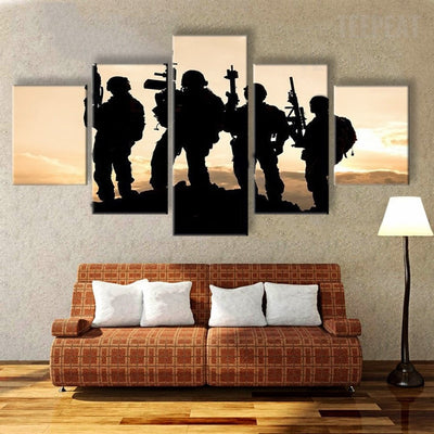 Four Soldiers On Stand-by Painting - 5 Piece Canvas