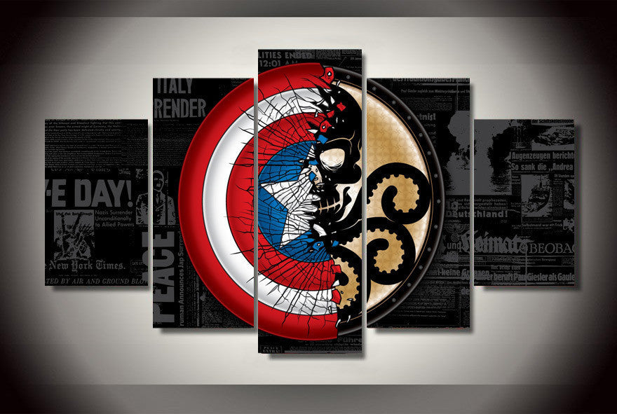 Captain vs Hydra - 5 Piece Canvas LIMITED EDITION - The Nerd Cave