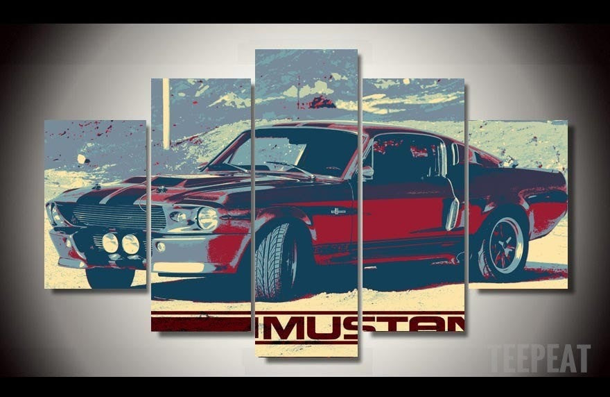 Mustang Eleanor Painting - 5 Piece Canvas-Canvas-TEEPEAT