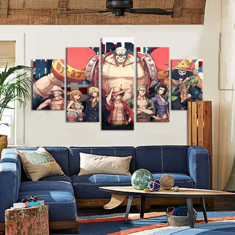 Franky Of One Piece Anime Team - 5 Piece Canvas