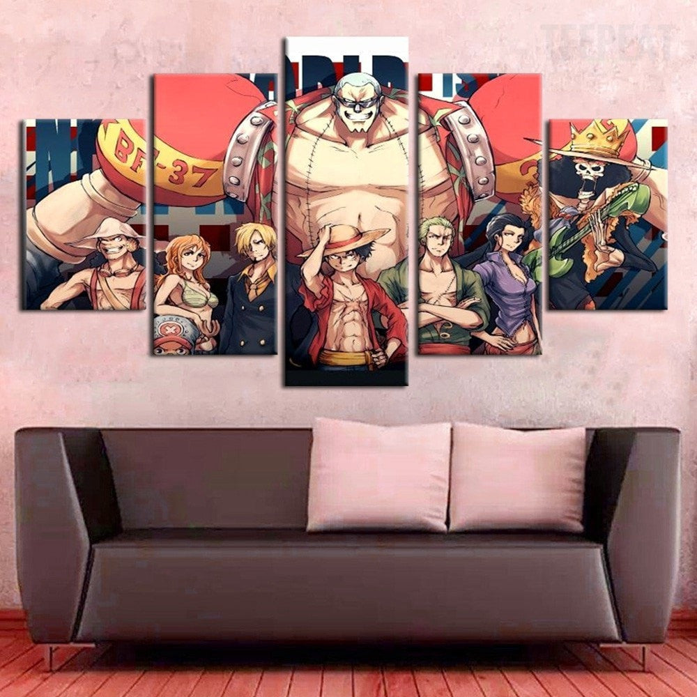 Franky of one piece anime team 5 piece canvas