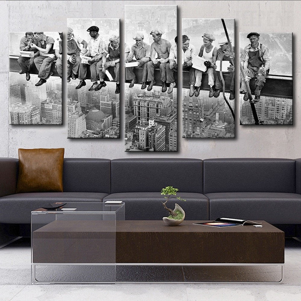 New York Vintage Art  Print Canvas Photo Black White Large Workmen Lunch