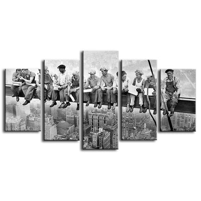 Skyscraper Workers on Lunch Vintage - 5 piece canvas