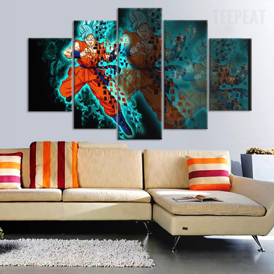 Goku Super Saiyan God - 5 Piece Canvas Painting
