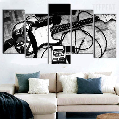 Guitar Black and White - 5 piece canvas
