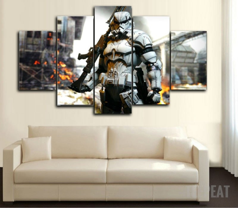 Stormtrooper Painting - 5 Piece Canvas-Canvas-TEEPEAT