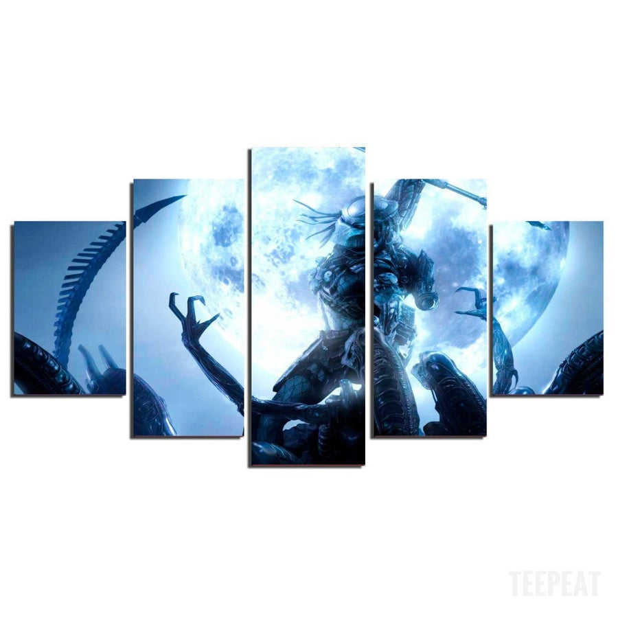 Predator Vs Aliens - 5 Piece Canvas Painting-Canvas-TEEPEAT