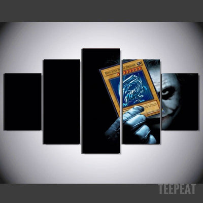 Joker White Dragon Card - 5 Piece Canvas Painting-Canvas-TEEPEAT
