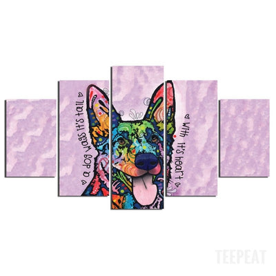 German Shepherd V2 Painting - 5 Piece Canvas-Canvas-TEEPEAT