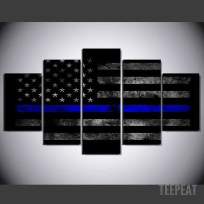 Police Flag - 5 Piece Canvas Painting-Canvas-TEEPEAT