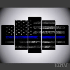Police Flag - 5 Piece Canvas Painting